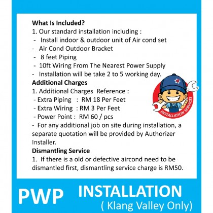 Professional 1.0hp  - 2.5hp Wall Mounted Air Conditioner Installation Service ( Klang Valley )