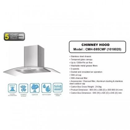 [COMBO] CORNELL CMH-S95CMF 1300m³/Hr Cooker Hood + CORNELL CBH-G863MCS 3 Burners Gas Cooker Dapur Gas 抽油烟机配套
