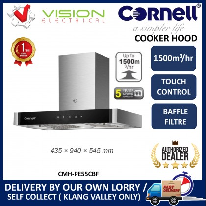 [COMBO] CORNELL CMH-PE55CBF 1500m³/Hr Cooker Hood + CORNELL CBH-G7802TNC 2 Burners Gas Cooker Dapur Gas 抽油烟机配套
