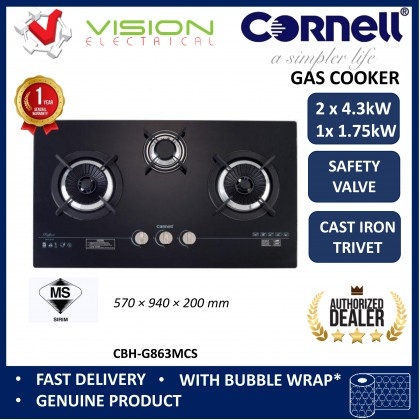 [COMBO] CORNELL CMH-PE55CBF 1500m³/Hr Cooker Hood + CORNELL CBH-G863MCS 3 Burners Gas Cooker Dapur Gas 抽油烟机配套