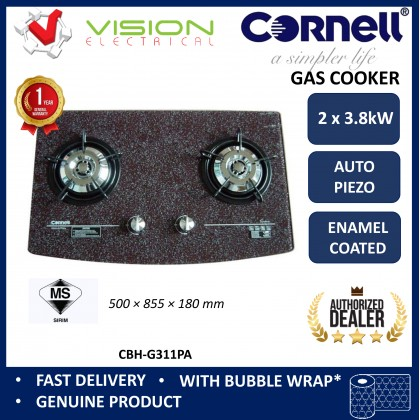 [COMBO] CORNELL CMH-PC91CBF 1300m³/Hr Cooker Hood + CORNELL CBH-G311PA 2 Burners Gas Cooker Dapur Gas 抽油烟机配套