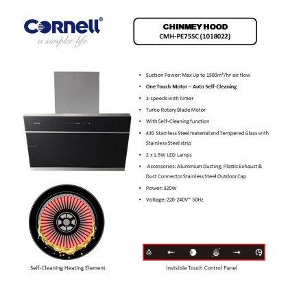 [COMBO] CORNELL CMH-PE75SC 1500m³/Hr Cooker Hood + CORNELL CBH-G7802TNC 2 Burners Gas Cooker Dapur Gas 抽油烟机配套