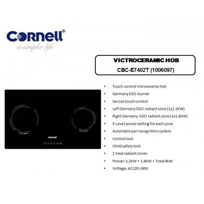 [COMBO] CORNELL CMH-PE75SC 1500m³/Hr Cooker Hood + CORNELL CBC-E7402T Built In 2 Burners Vitroceramic Hob Dapur Seramik 抽油烟机配套